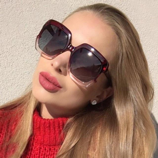 Mulher 2018 tendências de Grandes Dimensões Flat Top Senhoras Quadrados  Óculos De Sol de Marca Designer 505545618f