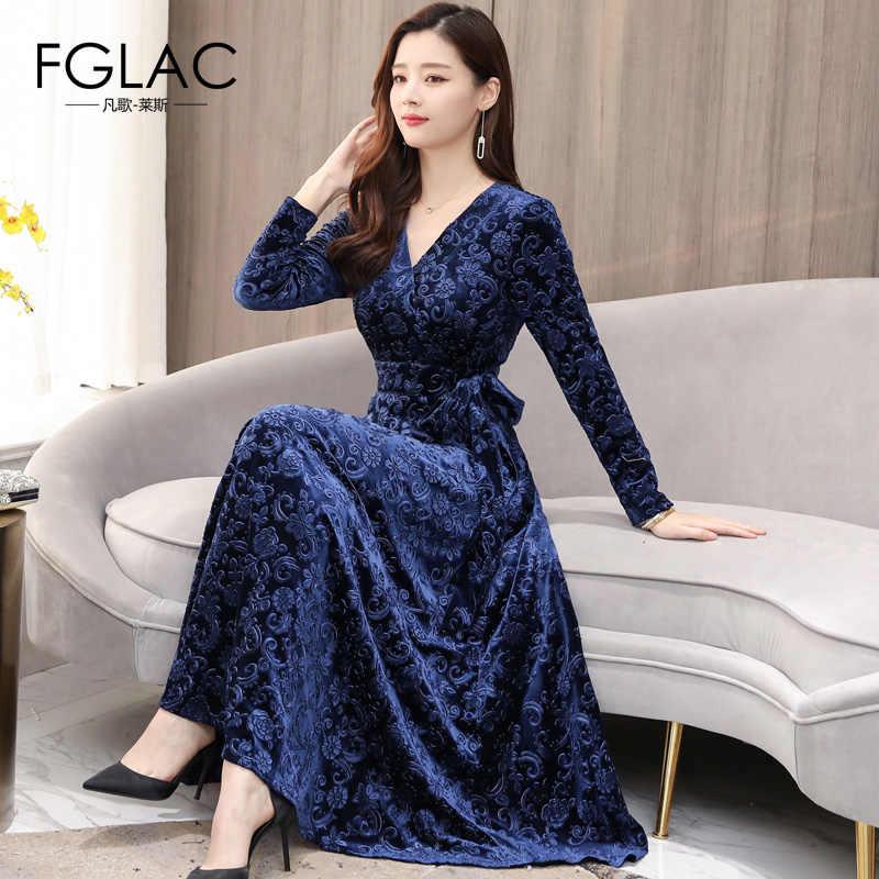 d99cf716f2d7 FGLAC Women Autumn winter Gold velvet dress Fashion Long sleeve V-Neck  Vintage party dress