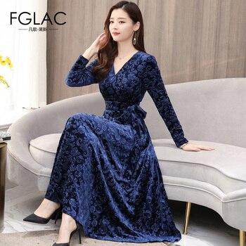 FGLAC Для женщин осень зима золото бархатное платье Модная одежда с длинными рукавами v-образным вырезом Винтаж праздничное платье элегантный...