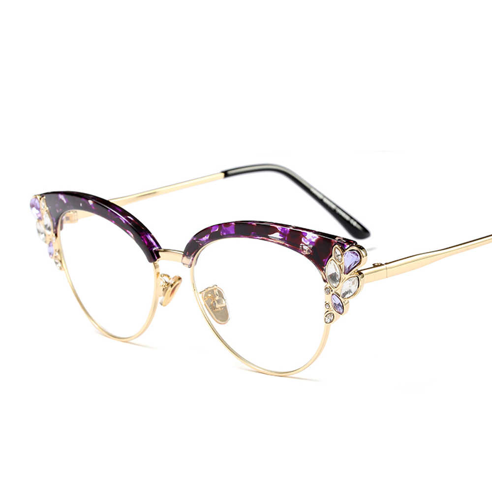 9d9a9ffcff7b ... Peekaboo rhinestone cat eye glasses frames for women brand designers  2018 luxury sexy eyeglasses cat eye