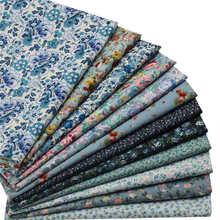 hot deal buy blue printed flower poplin fabrics patchwork organic cotton fabric  bed crafts materials diy clothing 12pcs 23*24cm/46*48cm