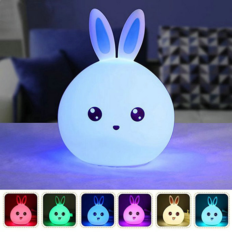 Cute Rabbit Multicolor Silicone Baby Nursery Lamp Touch Sensor Tap Control USB Rechargeable Kids Toy LED Table Night Bunny Light 7 color changing rabbit led night light silicone touch sensor tap control nightlight remote controller for kids children baby