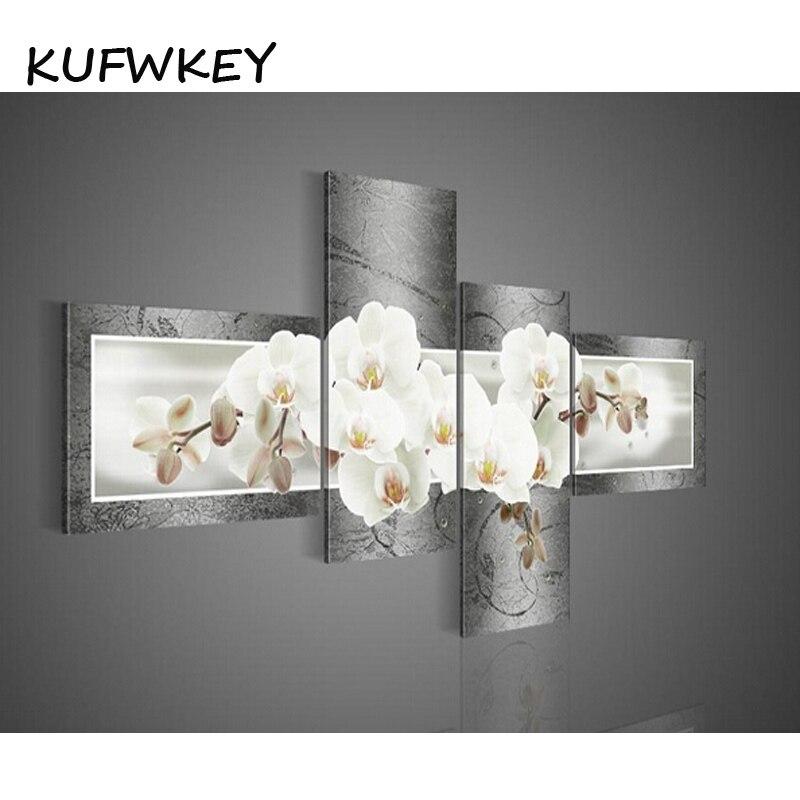 2017 4 шт. набор Магнолия Орхидея 5d Diy алмазная живопись цветок мульти полный квадратный Алмазная дрель 3d Алмазная вышивка крестиком