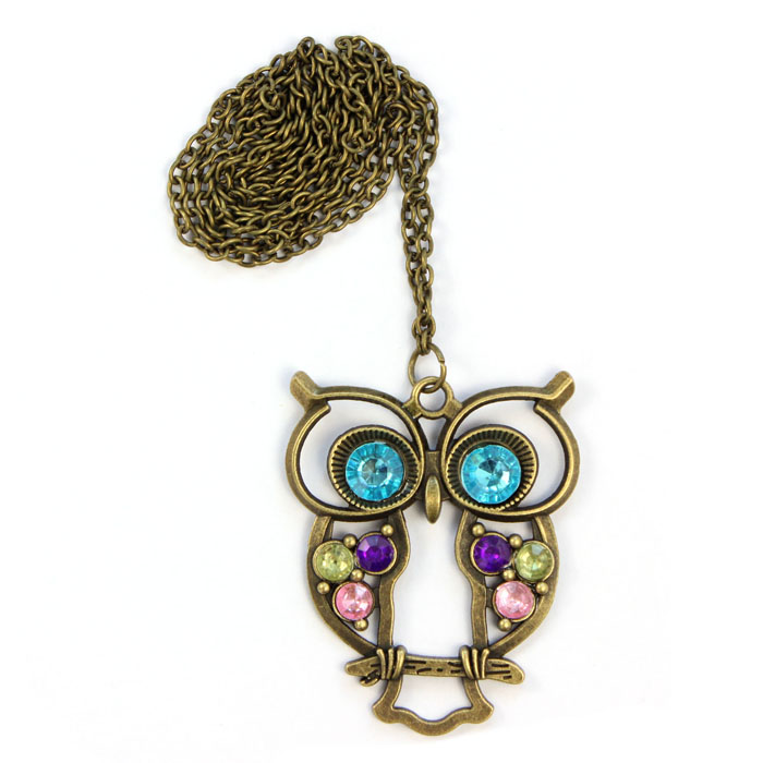 Toopoot Women Pendant Necklaces Lady Blue Eyed Owl Long Gold Chain Sweater Coat Statement Crystal Necklace Pendant Jewelry