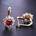 MECHOSEN Kawaii Red Rhinestone Stud Earrings CZ Zircon Prong Setting Crystal Aretes Gold Plated Copper Boucle d'oreille Jewelry