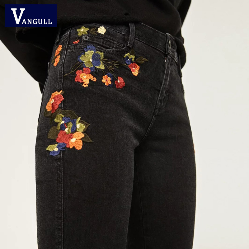 Vangull Flower embroidery jeans female Vintage casual pants autumn winter Pockets straight jeans women loose bottom jeans summer new flower embroidery jeans female light blue casual pants capris 2017 autumn winter pockets straight jeans women bottom