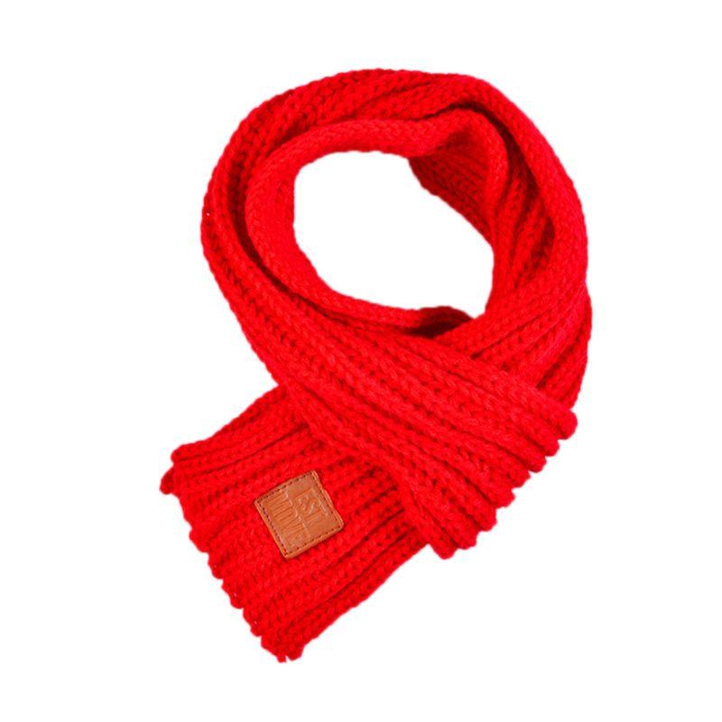Детский вязаный шарф из акрилового волокна для мальчиков и девочек, плотная зимняя теплая шаль для шеи, шарфы с резиновыми буквами - Цвет: Красный