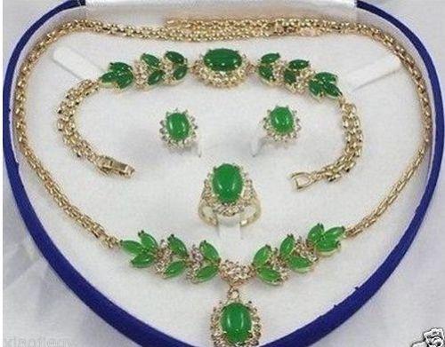 Offre spéciale nouveau Style>>>>> bijoux de mariée femme collier en pierre bracelet anneau boucle d'oreille ensemble