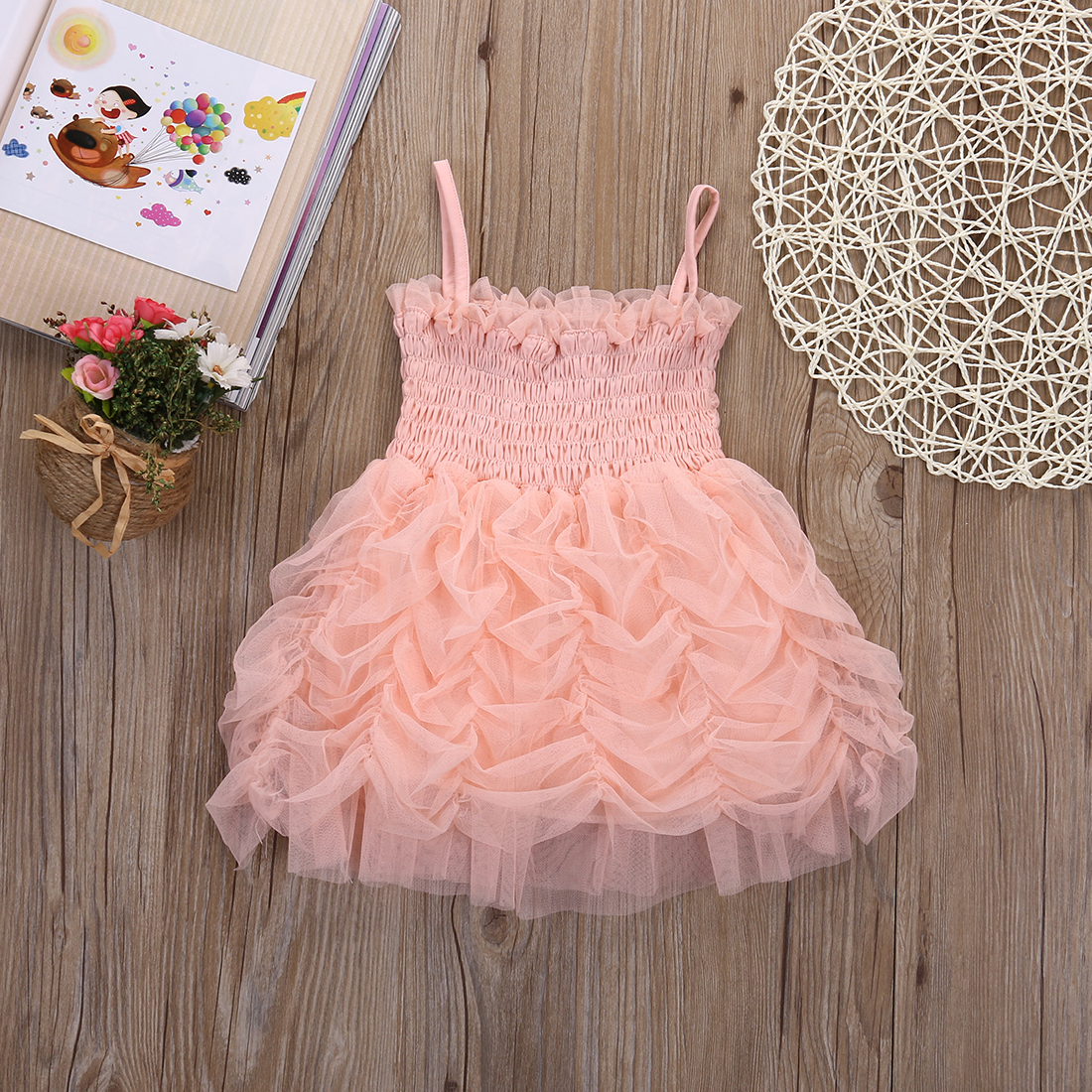2017 Hot Toddle Girls Clothes Princess Dress Little Girls Summer Dress Vestidos Ruffle Tutu Bubble Party Dress 1-6Y
