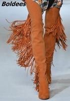 Новый Мода Дизайн Для женщин Chic коричневый бахрома на устойчивом каблуке сапоги до бедра круглый носок на не сужающемся книзу массивном каб