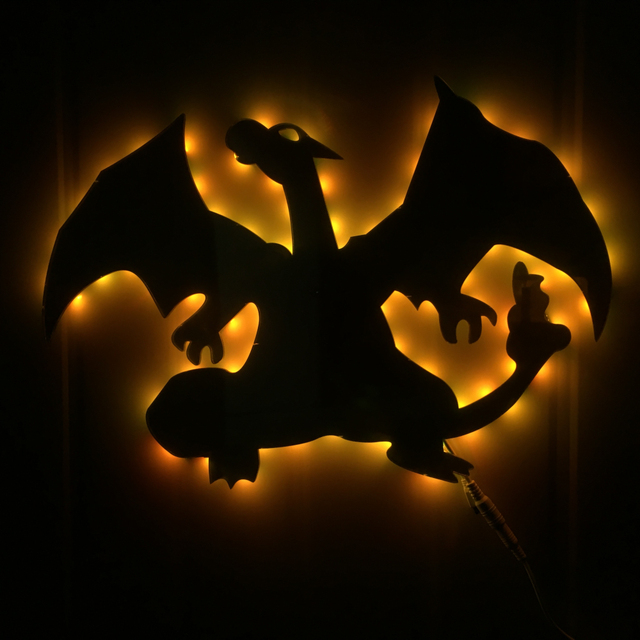 1Piece Charizard Evolution Led Wall Light Pokemon Inspired LED Wall Art LED  Mirror Display Light Creative