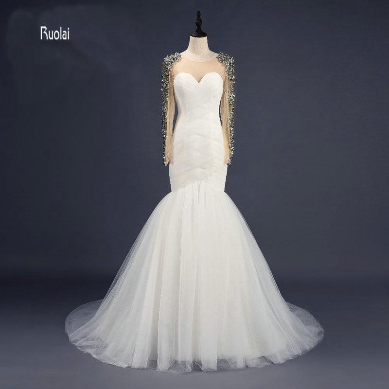 Προσαρμοσμένο Κατασκευασμένο Καταπληκτικό Scoop Sweep Τρένο Τούλλα Γοργόνα Φορέματα Γάμου 2017 Μακριά Μανίκια Φόρεμα Νυφική Πίσω Νυφική Φόρεμα