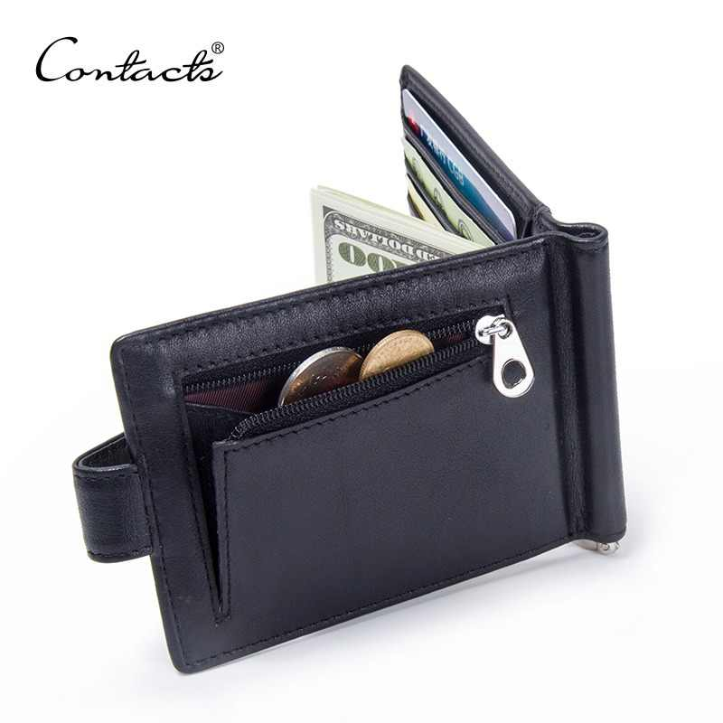 CONTACT'S Fashion Genuine Leather Money Clips High Quality Cow Leather Men Wallets Hasp Mini Purses vintage Men Wallet