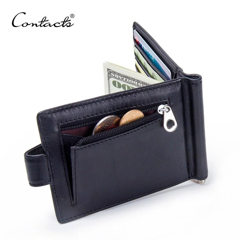 CONTACT'S Fashion pinces à billets en cuir véritable haute qualité en cuir de vache hommes portefeuilles Hasp Mini sacs à main vintage hommes portefeuille