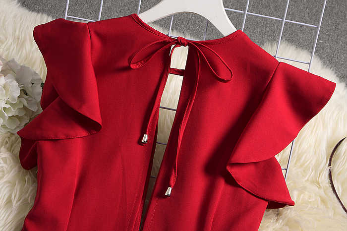 ALPHALMODA 2019 여름 여성 딥 브이넥 섹시한 점프 슈트 솔리드 컬러 스트레이트 전장 바지 Ladies Party Overall Outfit