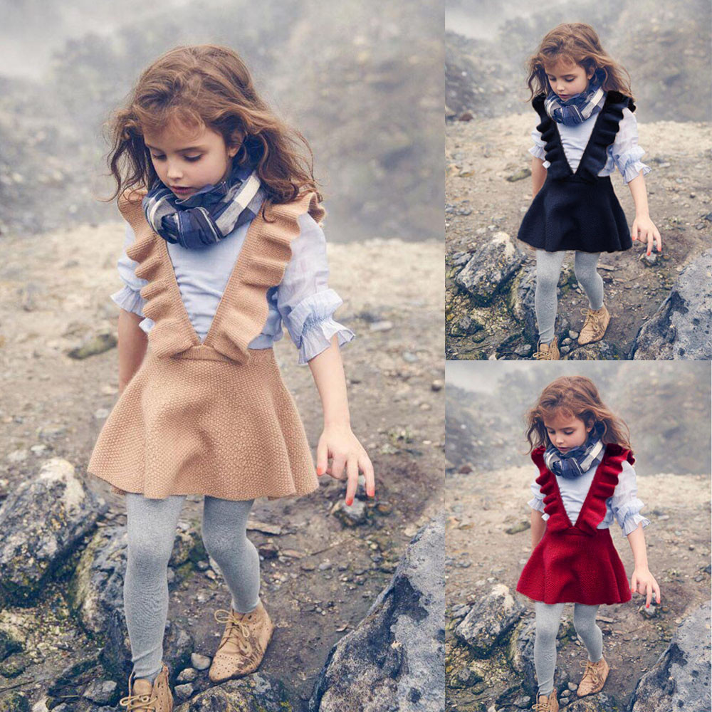 2018 Autumn Toddler Girl Kids Baby Knit Sweater Solid Sleeveless Ruffle Dress Clothes Dropshipping 50