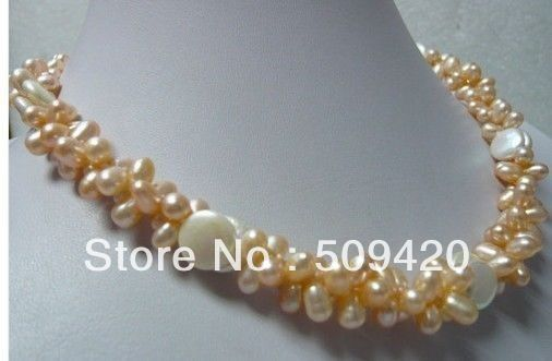 ~~ Free Shipping >>2 Rows Pink Pearl White Button Pearl Necklace