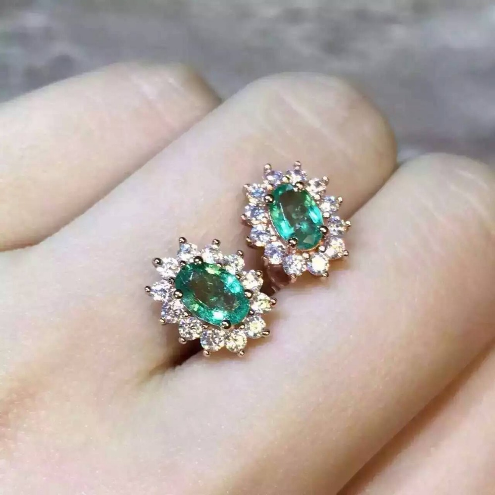 natural green emerald earrings 925 silver Natural gemstone earring women classic elegant round fine earrings for