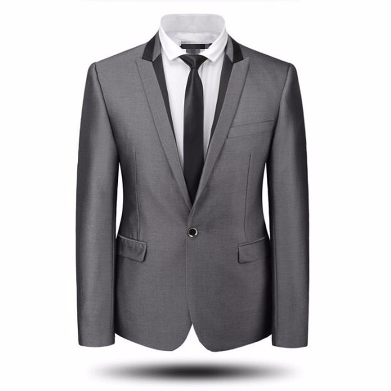 6.1Grey men suits jacket new arrival one button groom wedding tuxedos jacket tailor made groomsman party suits jacket