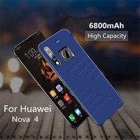 6800mAh External Portable Mobile Power Charging Protective Cover Wireless Charger Cover for Huawei Nova 4 Battery Case box