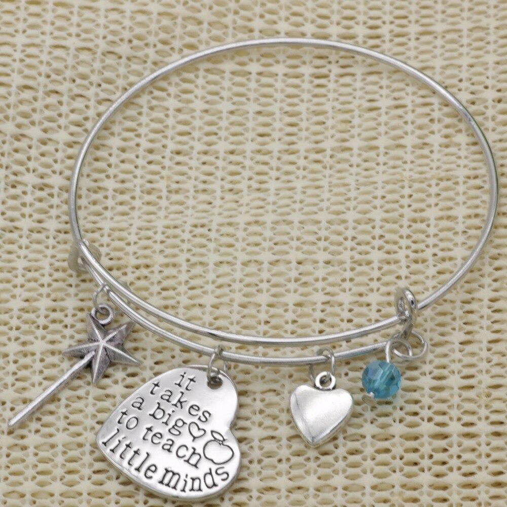 Fashion Teacher gift bracelet crystal Jewelry It take a big heart to teach little minds heart pendant Expandable Bracelet B154