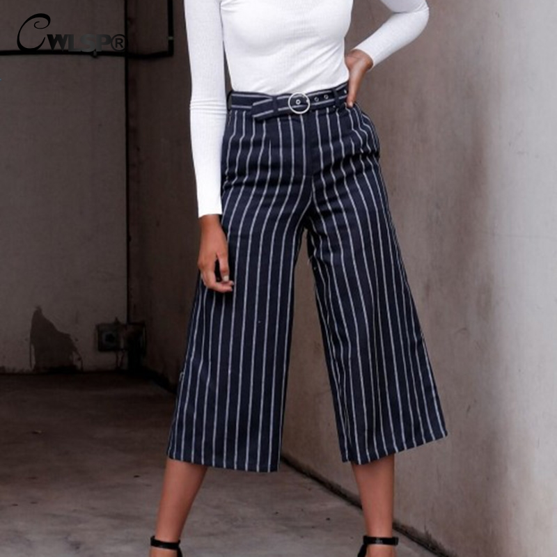 CWLSP 2 colors fashion Lady Solid Casual Loose Pants Women Casual Full Length Frill Trousers female Pants striped QZ2873