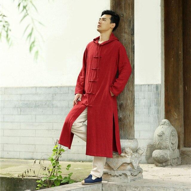 Китайский стиль мужская Кунг-Фу с капюшоном траншеи Куртки мужчины/женщины хлопок лен кардиган свободные повседневная длинные пальто шанца