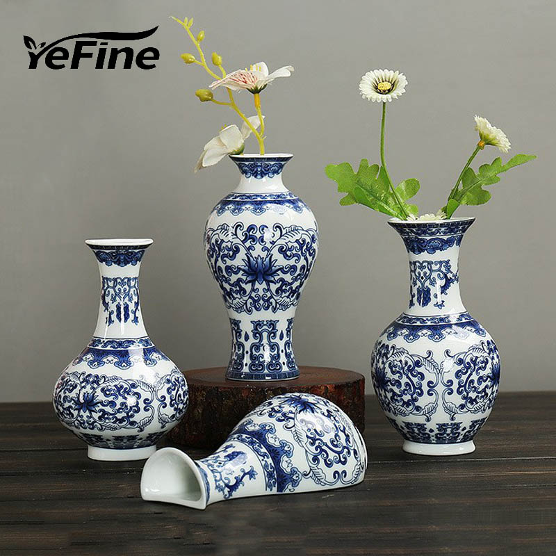 YeFine Traditional Chinese Blue And White Porcelain Wall Hanging Flower Vase Decoration Home Ceramic Antique Jardiniere vase