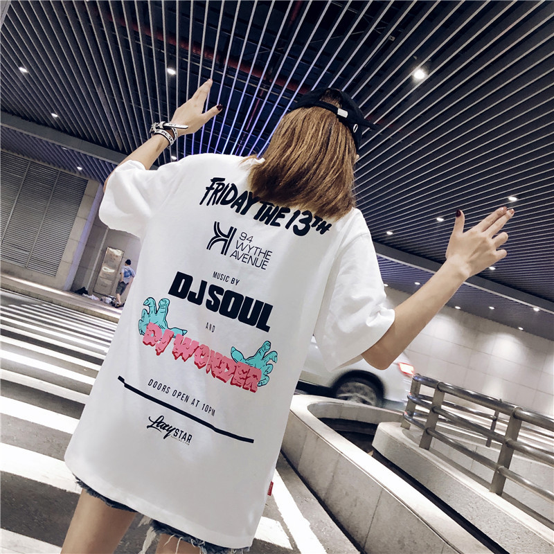 Shuchan Streetwear Cotton Summer T shirt For Women Loose Letter Short Sleeve T shirts Casual Tees Top Harajuku 2019 Fashion Tops in T Shirts from Women 39 s Clothing