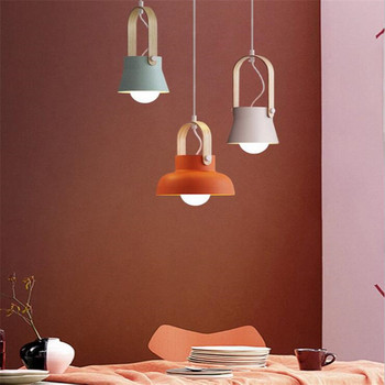 Modern Nordic Creative Macaron Wood Aluminum Suspension for Dining Room Bar Foyer Bed Side Small Pendant Light 2435