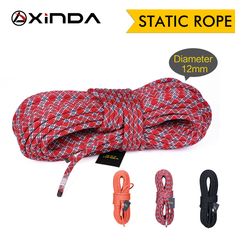 XINDA Camping Rock Climbing Rope 12mm Static Rope Diameter  High Strength Lanyard Safety Climbing Equipment Survival