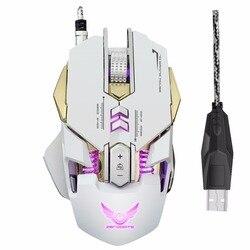 Przewodowy USB E-sport mysz komputerowa mysz ergonomiczna 7 przycisków oddychanie światła do gier 3200 dpi mysz optyczna biały pod mysz do gier