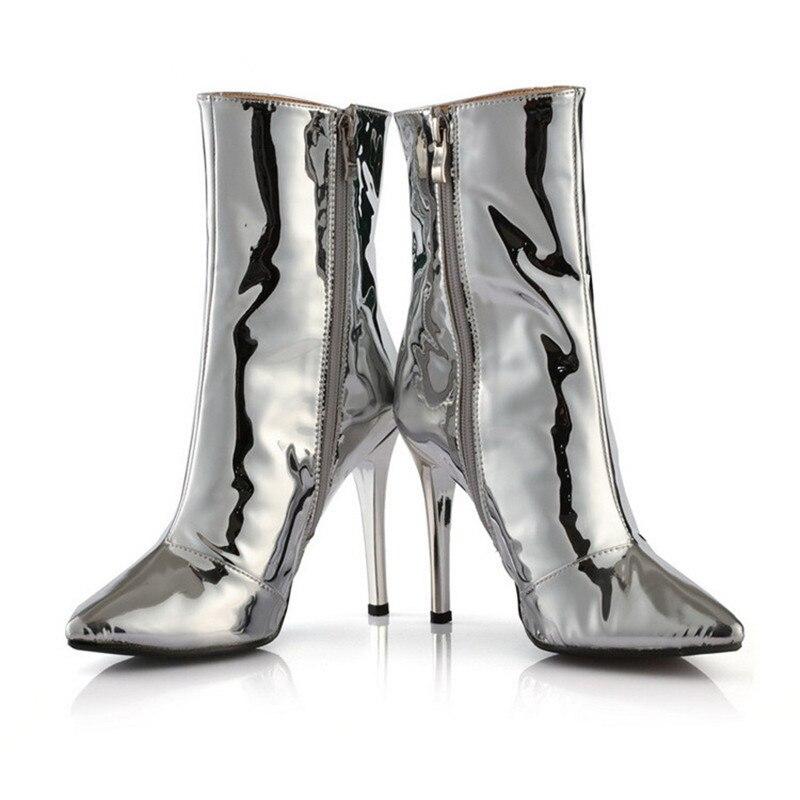Espejo Las Sexy Oro Mujeres Tacones Silver Apuntaron Para Zapatos Botines Invierno Plata Luchfive gold Altos Girls q0fCnEgww