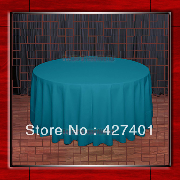 Hot Sale 108R Teal 210GSM Polyester plain Table Cloth For Wedding Events & Party Decoration(Factory Direct Sales)