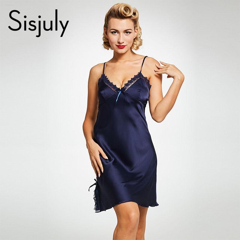 Sisjuly Women Nightgowns Sexy Lingerie Blue Sleepwear Lace -4295