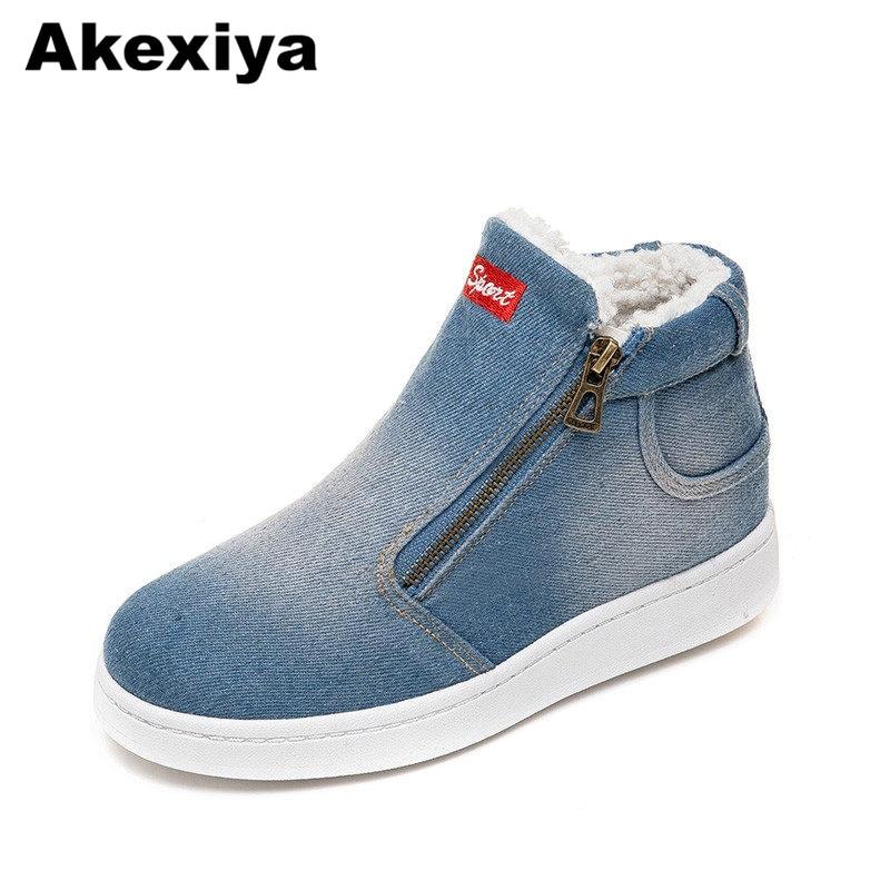 Akexiya In Pile Push Scarpe Inverno Caldo Donne Del Denim Dei Jeans Stivali Stivali Da Neve Classico Di Alta Cima Piatta Casual Scarpe Zapatos De Mujer