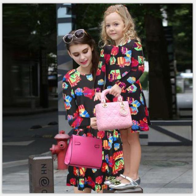 mother daughter dress mommy and me christmas dress floral printed long sleeve dress new matching christmas