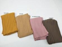 Moda plissado plissado bolha chiffon enrugamento cachecol longo listra xales hijab crumple pashmian muçulmano cachecóis/cachecol 10 pçs/lote