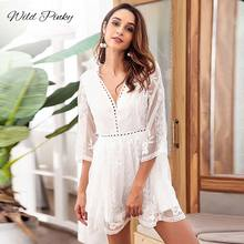 WildPinky Spring Sexy Hollow Out Dress For Women White V Neck 3/4 Sleeve High Waist Slim Dresses Fashion Clothes Vestidos