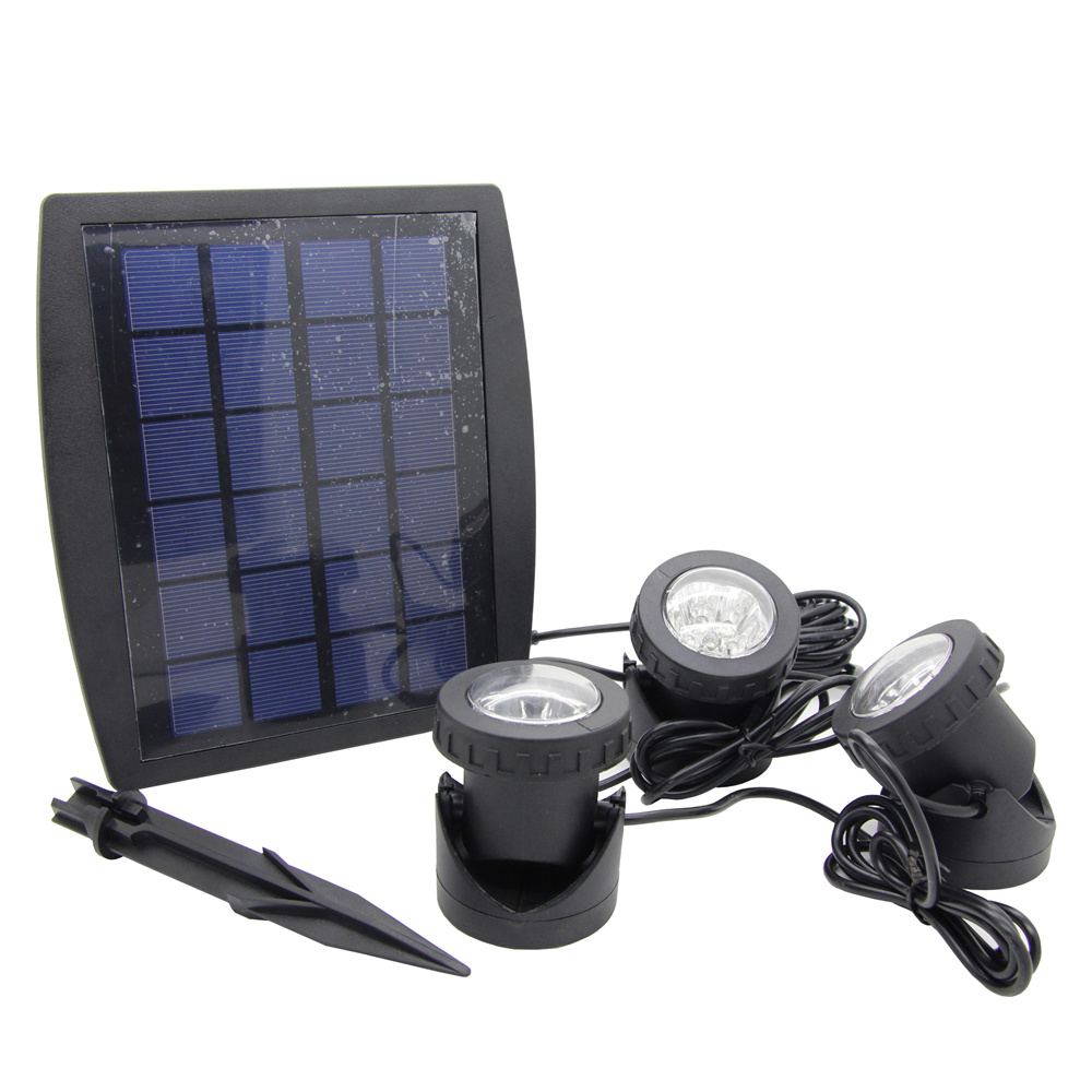 Led underwater solar light with Solar Powered 3 Bulbs Submarine Spotlight 18LEDS RGB Garden Pool Pond Lamp Underwater Lights