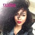 Malasio de la virgen del pelo rizado con el encierro malasio barato lace closure con 4 bundles afro rizado armadura del pelo humano con cierre
