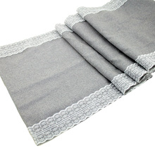 1pcs Gray Lace Table Runner Natural Jute Burlap Imitated Linen Table cloth Party Rustic Wedding Decor Home Textile 30x275cm