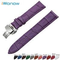 Couro genuíno faixa de relógio 18mm 19mm 20mm 22mm para rolex butterfly fivela de aço inoxidável strap relógio de pulso pulseira cinto