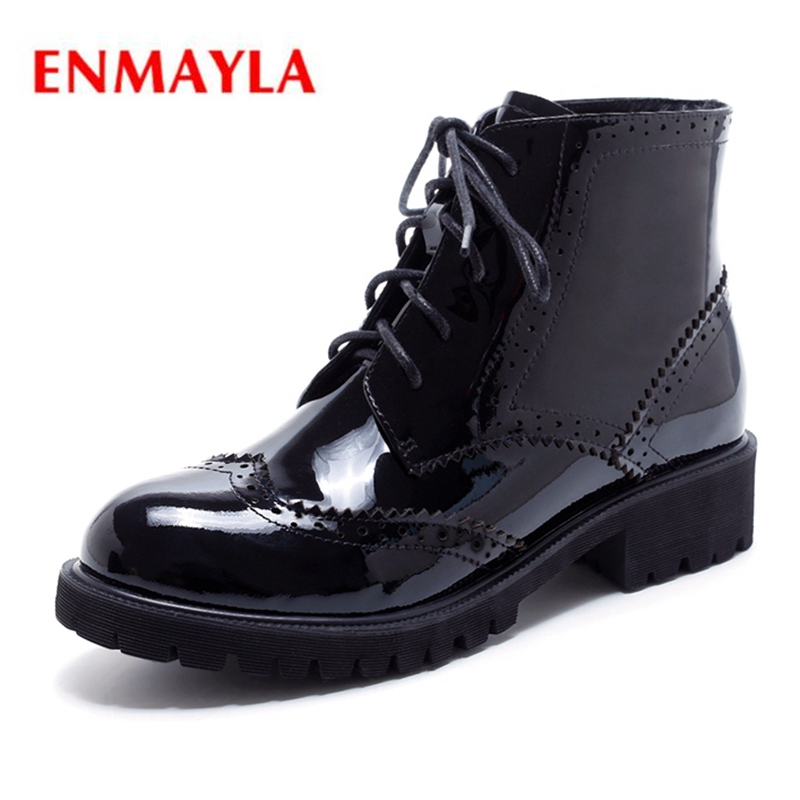 ENMAYLA New Arrival round toe solid lace up boots women lady fashion ankle boots marten botas mujer Big size 34-43 ZYL1289 гигрометр boneco 7057 page 9