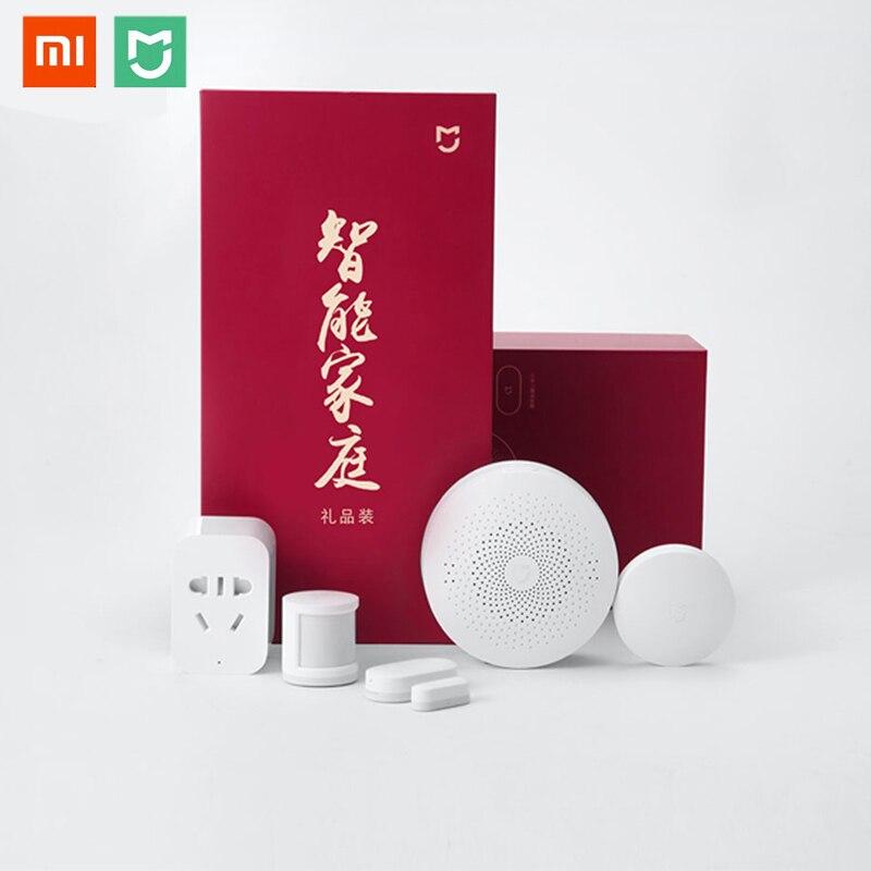 Xiaomi MIJIA Aqara 5 en 1 Smart Home Kit paquete ZigBee Socket Gateway Hub Cuerpo Humano Sensor de puerta ventana inalámbrico mini interruptor