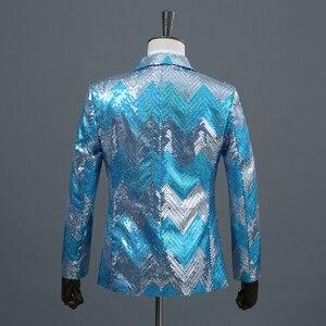 Image 2 - Pyjtrl novos homens gradual azul verde lantejoulas brilhante festa dj cantor palco mostrar terno jaqueta de casamento formatura desempenho blazer design