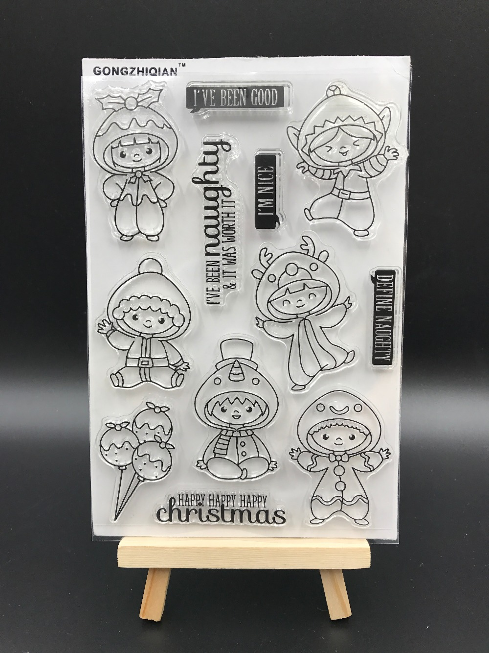 Cartoon Christmas Transparent Clear Silicone Stamp/Seal for DIY scrapbooking/photo album Decorative clear stamp sheets A549 lovely animals and ballon design transparent clear silicone stamp for diy scrapbooking photo album clear stamp cl 278