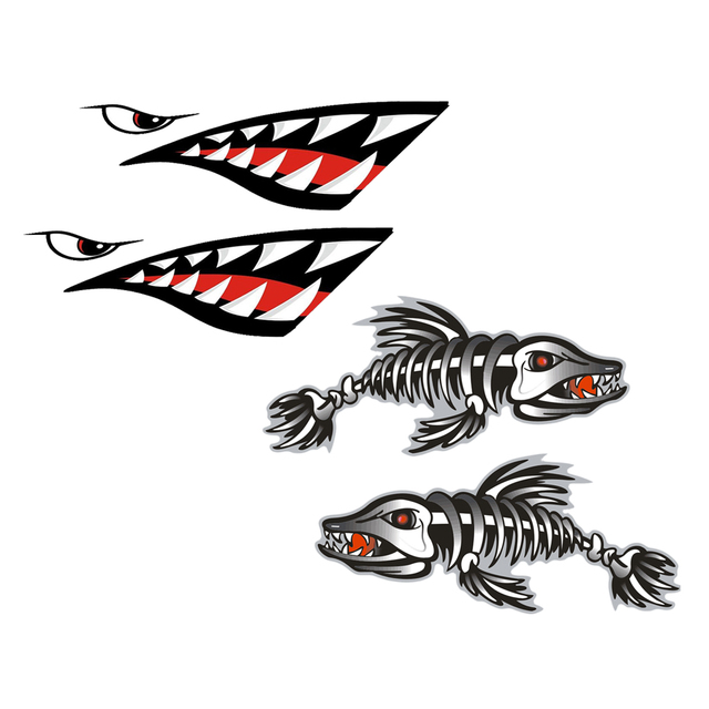 New Hot 4 Pieces Vinyl Skeleton Fish Shark Mouth Kayak Decals Fishing Boat Graphics For