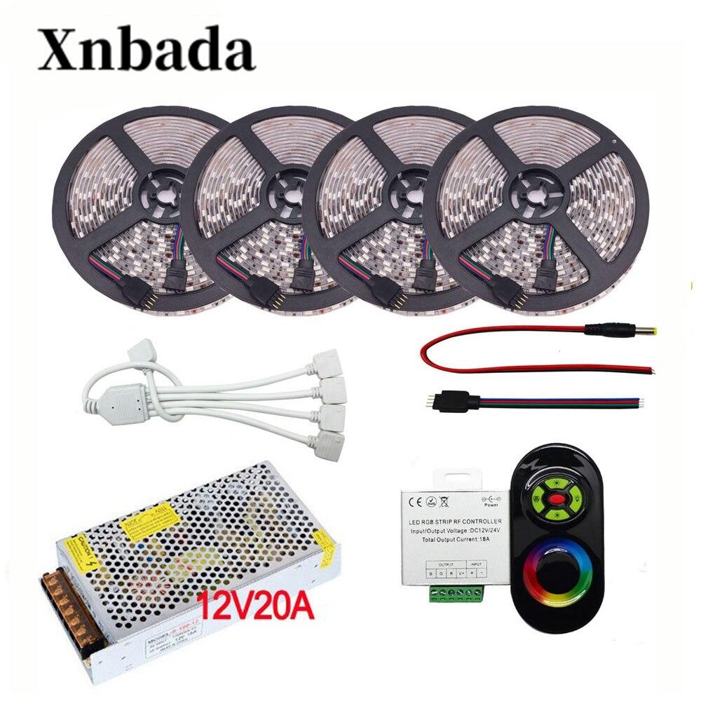 5 M-20 M 60led/m SMD 5050 RGB Led bande ensemble DC12V Led lumière Flexible + 5 # RGB contrôleur rf Led + adaptateur secteur livraison gratuite