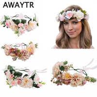 3f9bb466827 AWAYTR ручной работы невесты для женщин цветок Корона повязка для волос  Свадебные Цветочная повязка на голову
